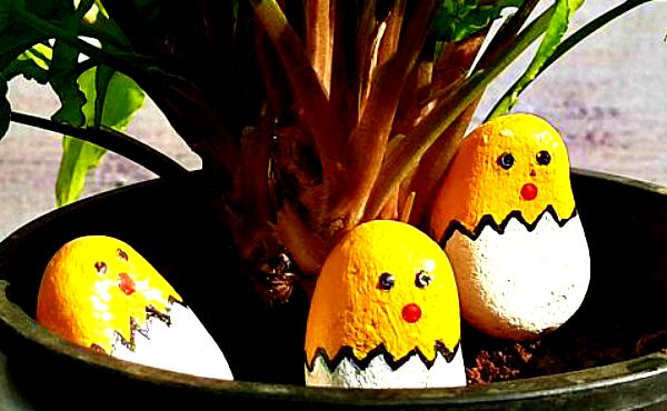 Pegion Yellow & White, Pebble Art Handcrafted Garden and Room Décor for Home by NationBloom