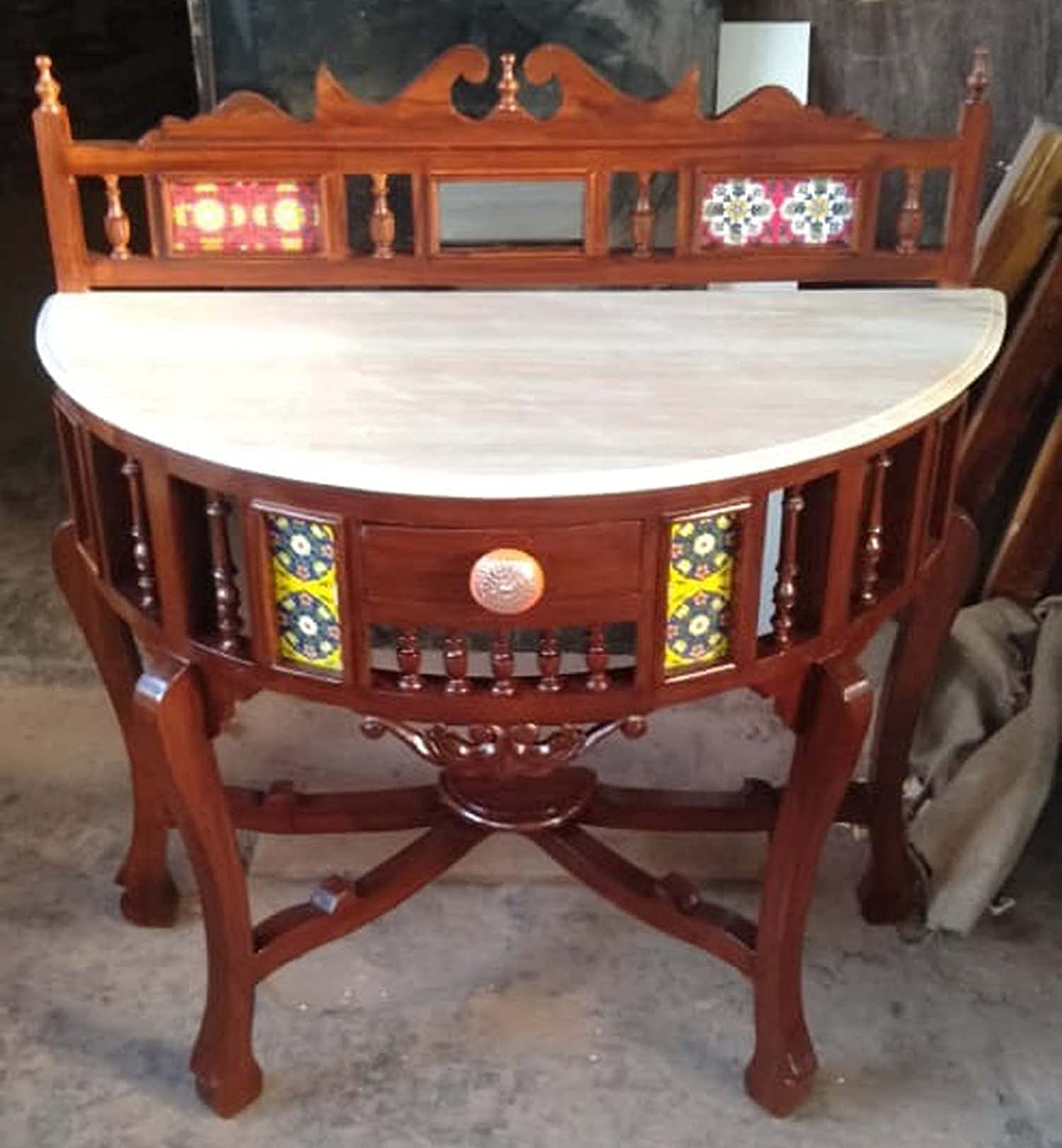 Traditional Half Round (D) Shape Console Table Solid Teak Wood with Marble Top, Lacquer Finish Honey Brown Size: 30x36x15 Inch