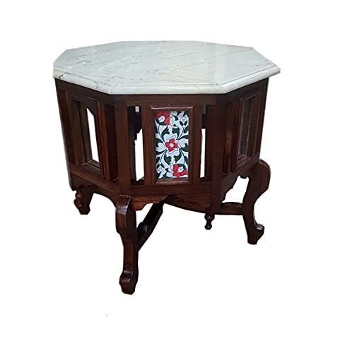 Traditional Octagon Shape Coffee Table/Side Table Solid Teak Wood with Marble Top, Lacquer Finish Honey Brown Size: 18x18x18 inch Inch