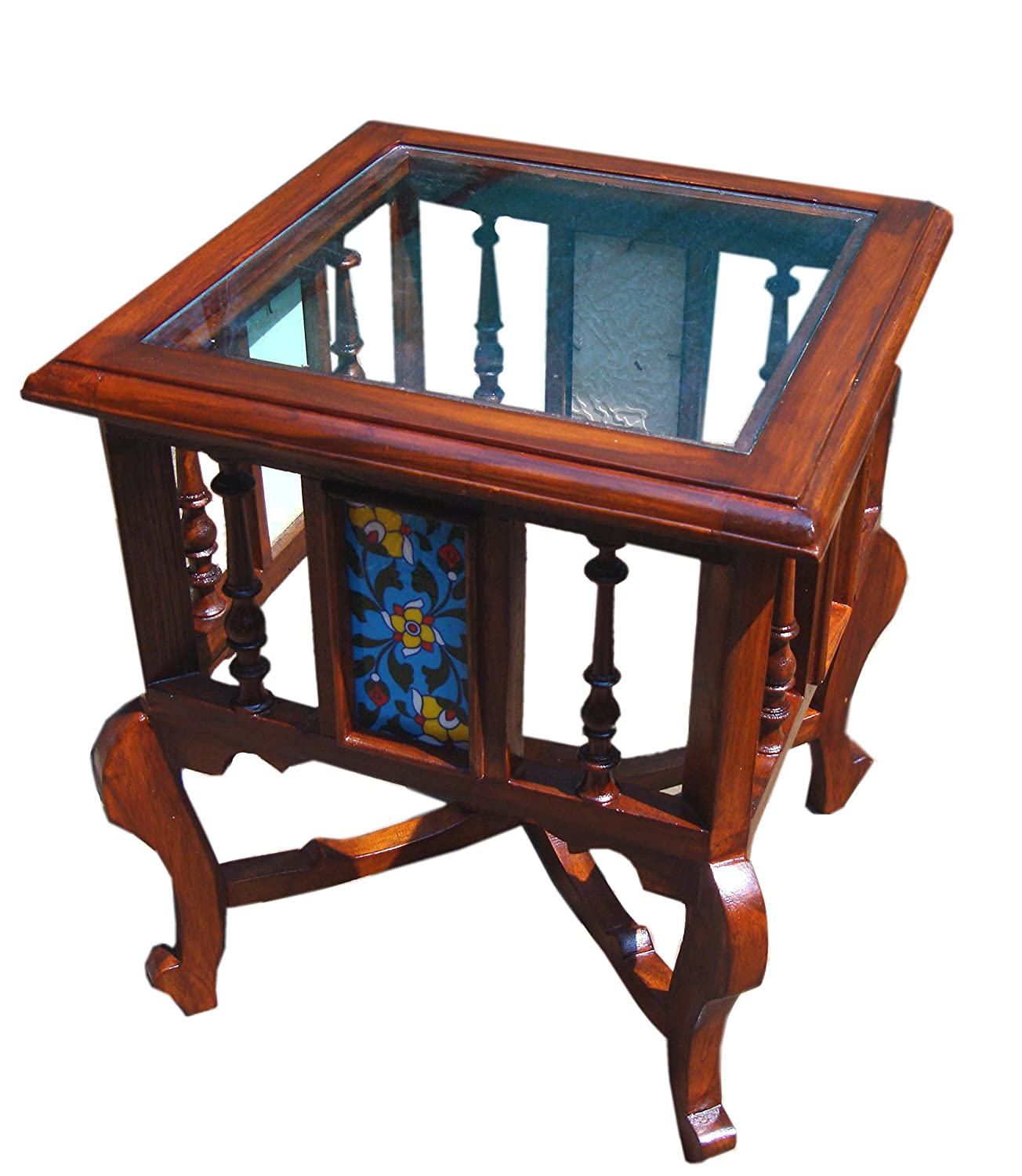 Teak Wood Traditional Antique Look Corner Small Coffee Table with Glass Top (Brown, 18x15x15-inch)