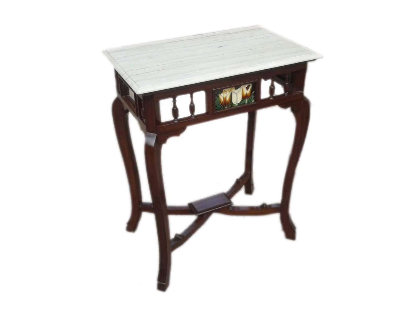 Solid Teak Wood Rectangle Shape Antique Look Console Table with White Marble Top Size : 30x24x15 (HxWxD)
