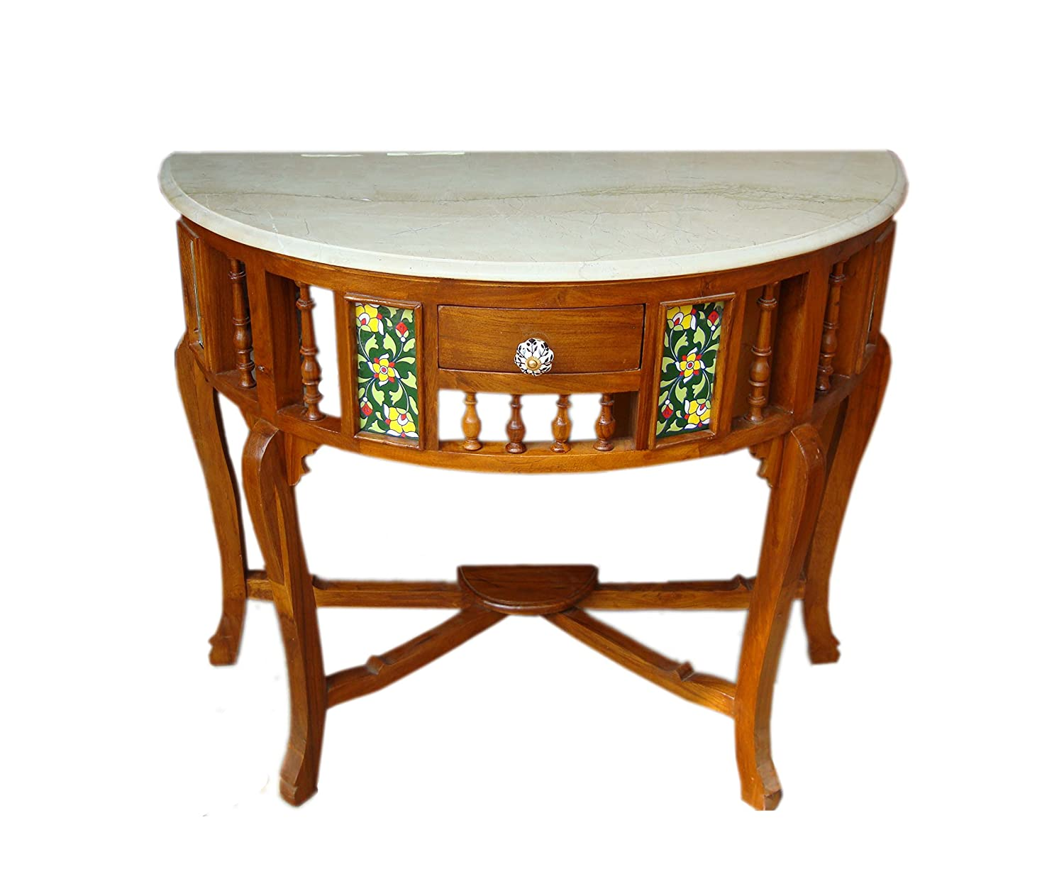 Solid Teak Wood Half Round (D) Shaped Antique Traditional Look Console Table with Marble Top Size : 30x36x15 (HxWxD)