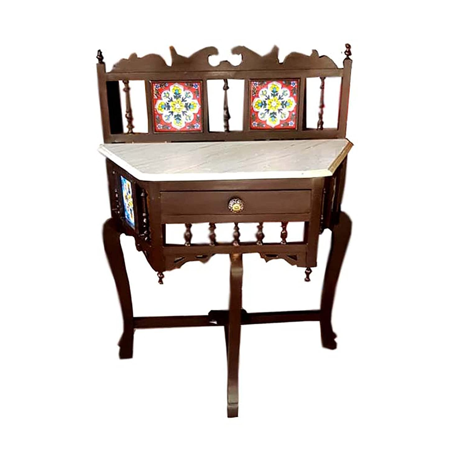 Exclusive Traditional Trapezium Shape 3 Leg Console Table Solid Teak Wood with Marble Top, Lacquer Finish Walnut Brown Size: 30x30x15 Inch