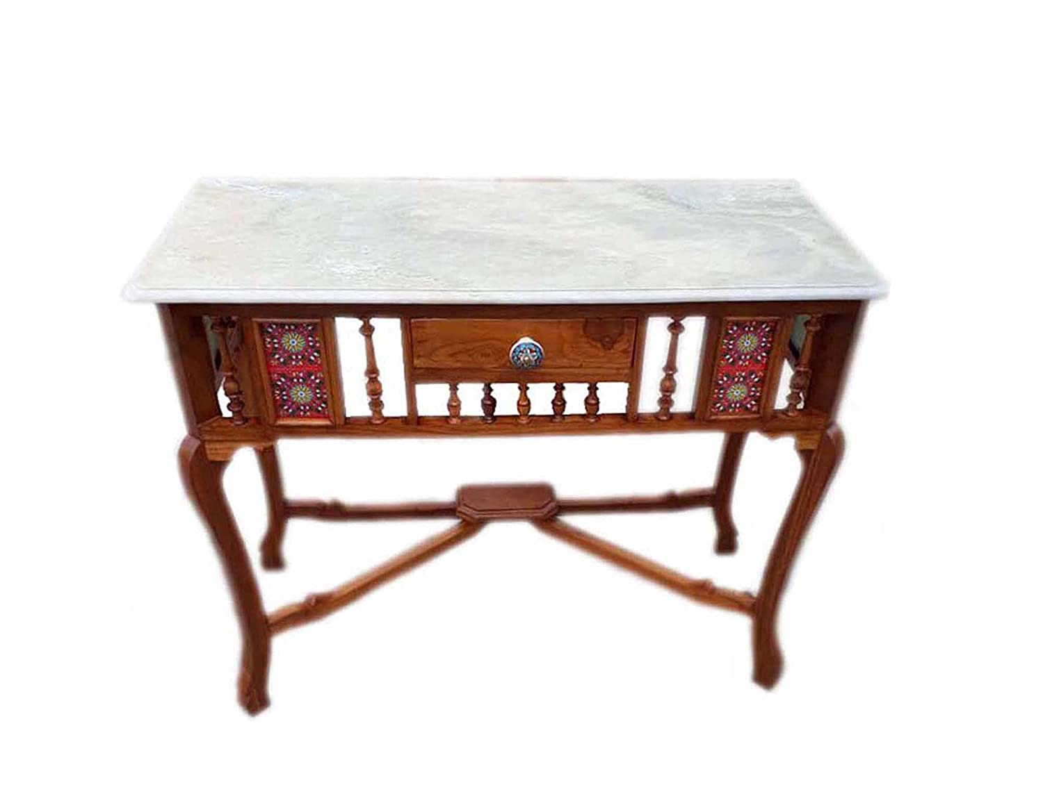 Solid Teak Wood Antique Look Console Table with Marble Top Size : 30x36x15 (HxWxD)