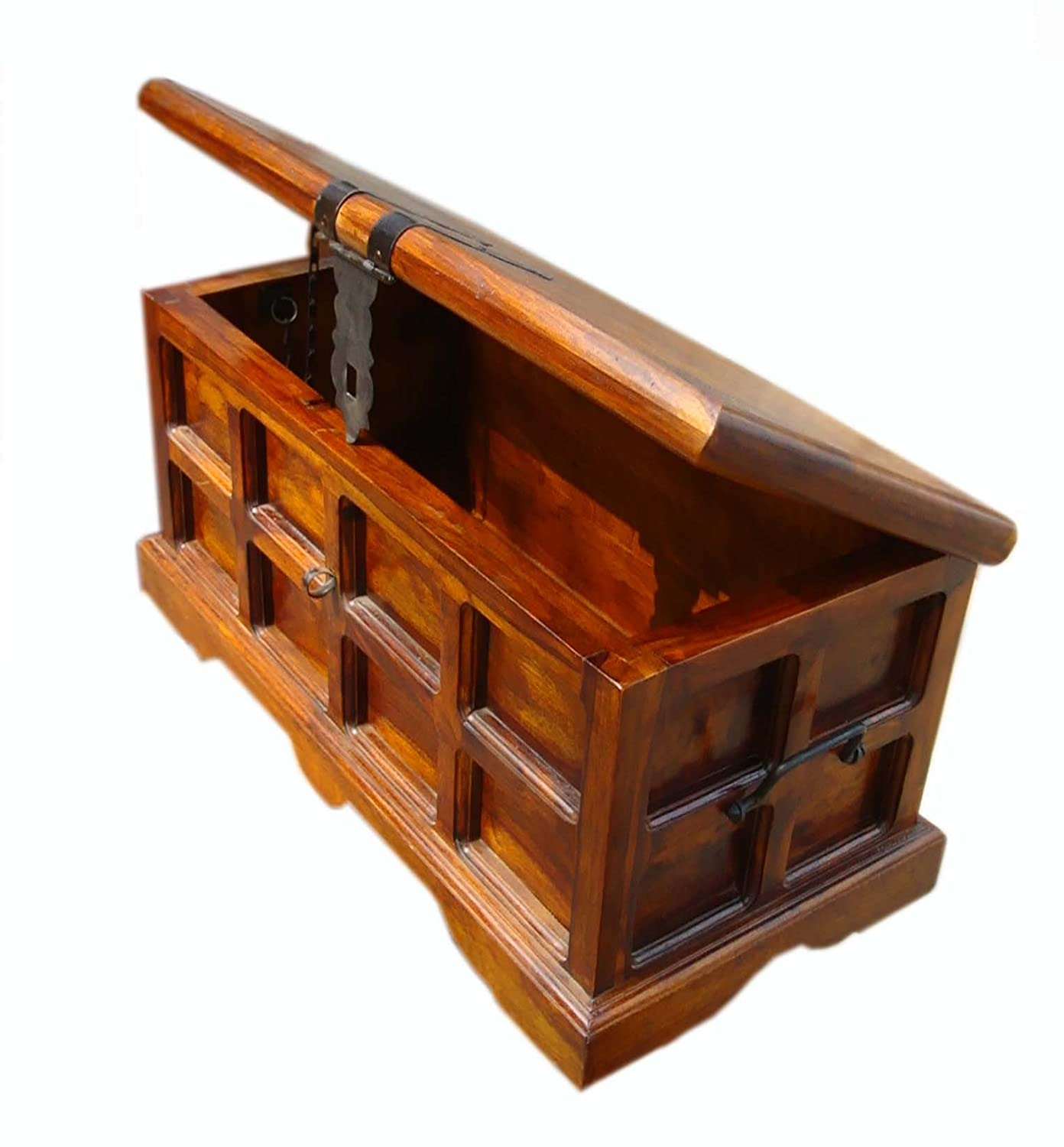 Solid Wood Sheesham Antique Look Coffee Table/Center Table Cum Storage Box/Trunk/Blanket Box, Size: (31x16x16) inch
