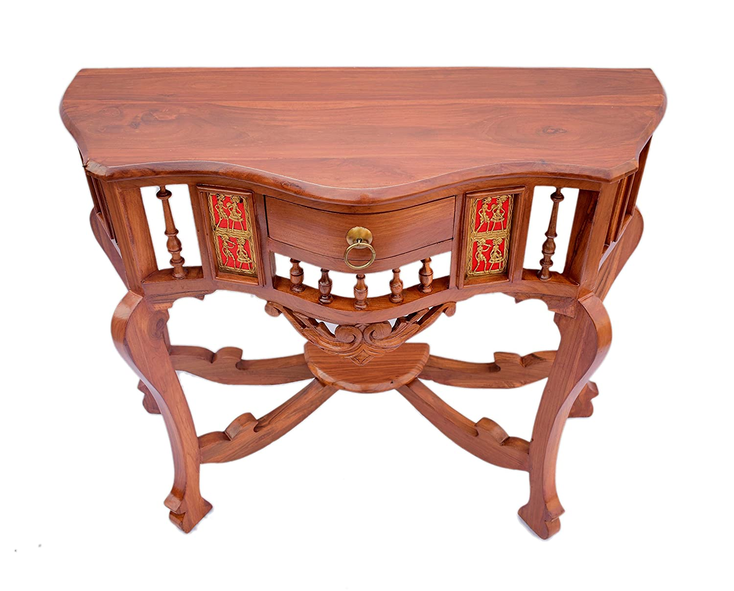 Teak Wood Antique and Royal Look Console Table with Beautiful Dhokra and Warli Art. Size : 30x36x15 (HxWxD)