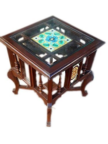 Teak Wood Traditional Antique Look Table with Glass and Floral Tile top Size:(18x15x15) Inch