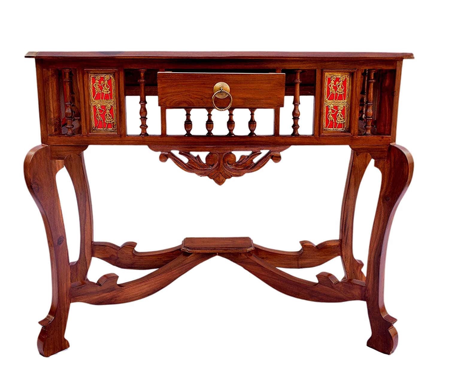 Solid Teak Wood Antique Look Console Table with Beautiful Brass Dhokra and Warli Art : 30x36x15 (HxWxD)