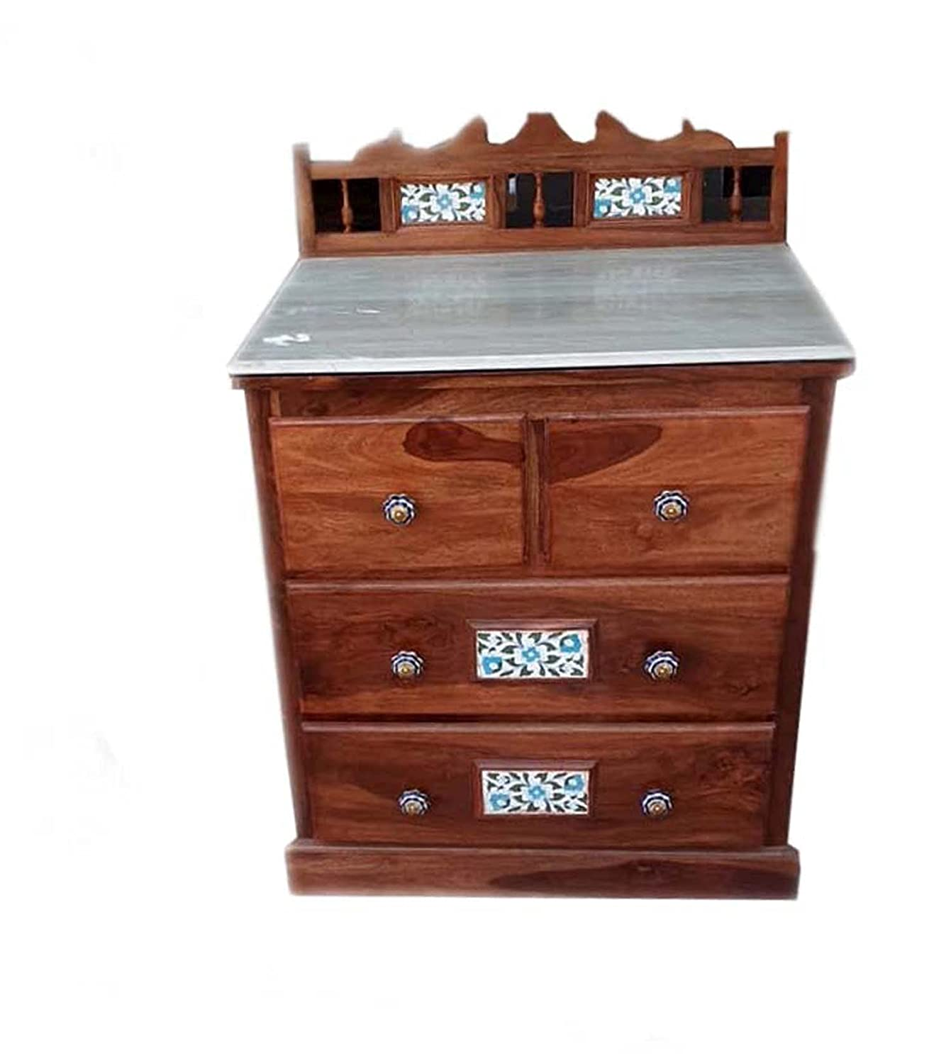 Exclusive Solid Rosewood (Sheesham) Cabinet/Chest of Drawer with Marble  Top, Lacquer Finish Honey Brown, Size: 32x30x24 inch