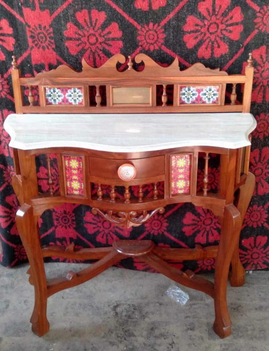 Solid Teak Wood Antique Look Console Table with Crown Back and Marble Top, Size : 30x36x15 (HxWxD)