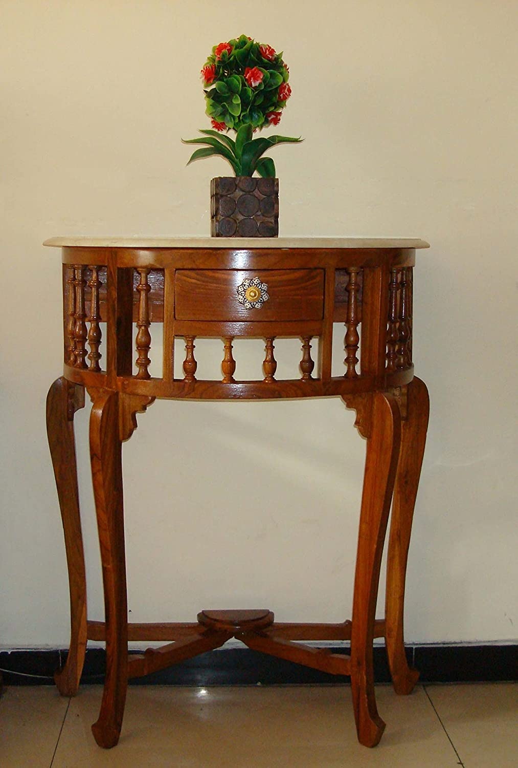 Solid Teak Wood With Marble Top Console Table 30X23X12