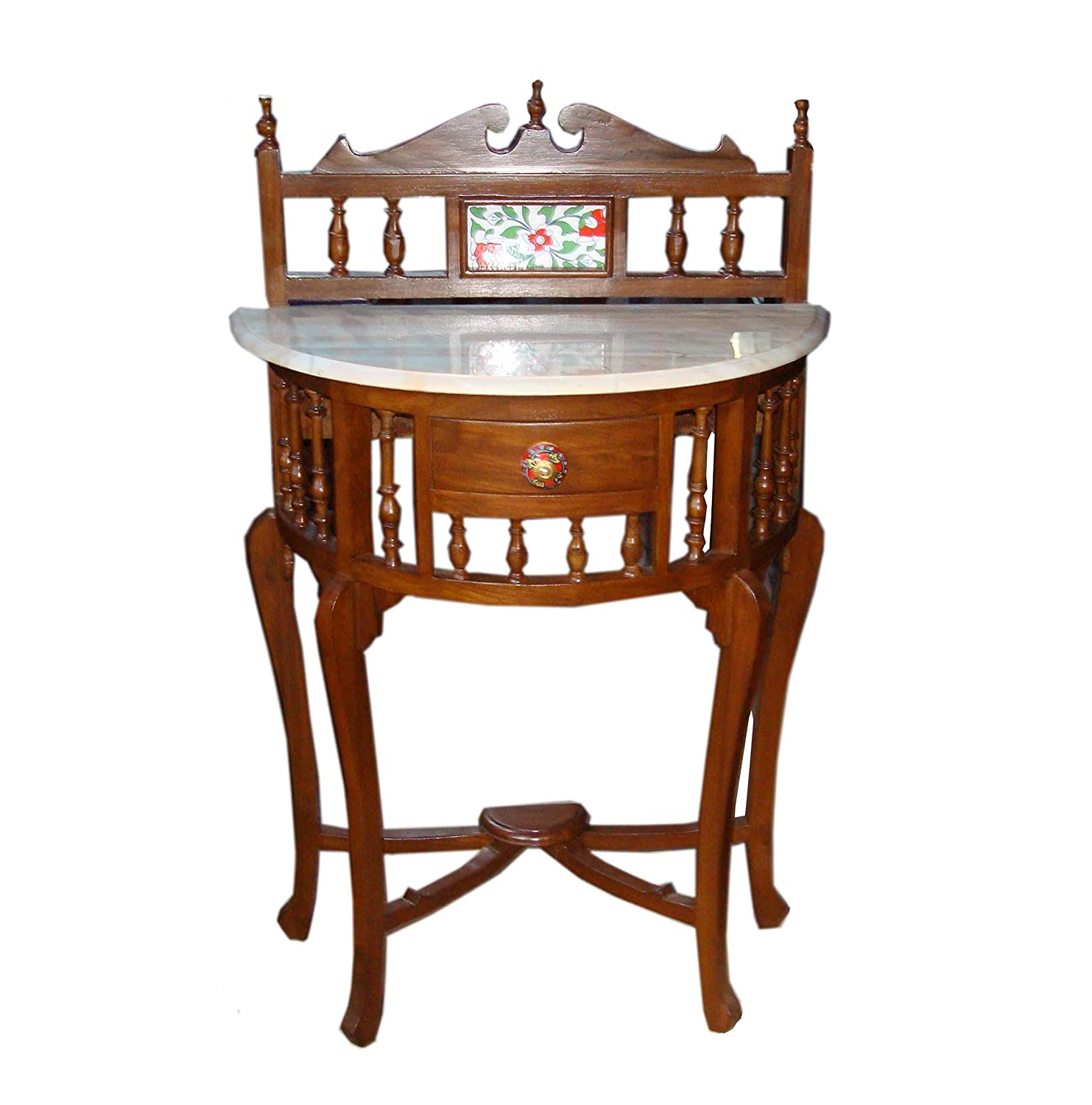 Traditional Half Round (D) Shape Console Table Solid Teak Wood with Marble Top, Lacquer Finish Honey Brown Size: 30x23x12 Inch