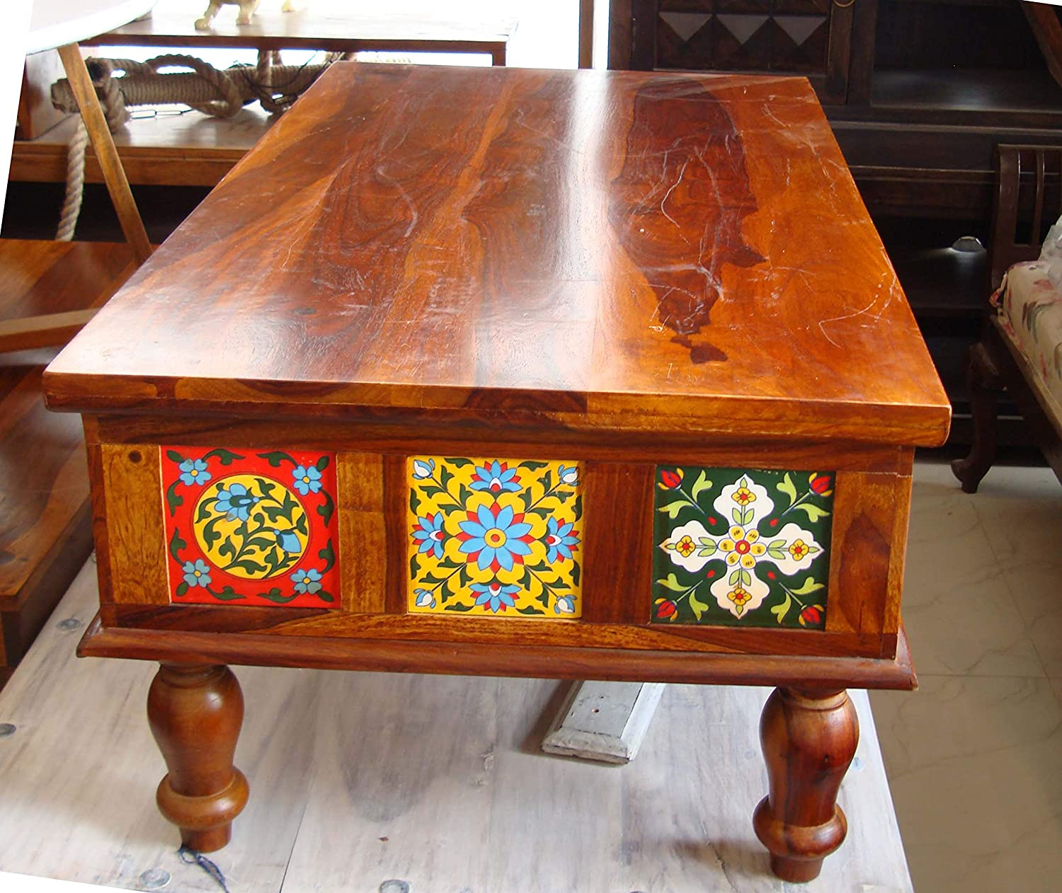Solid Rosewood (Sheesham) Traditional Antique Look Big Size Coffee Table Center Table 4 x 2 Feet (18x48x30) Inch