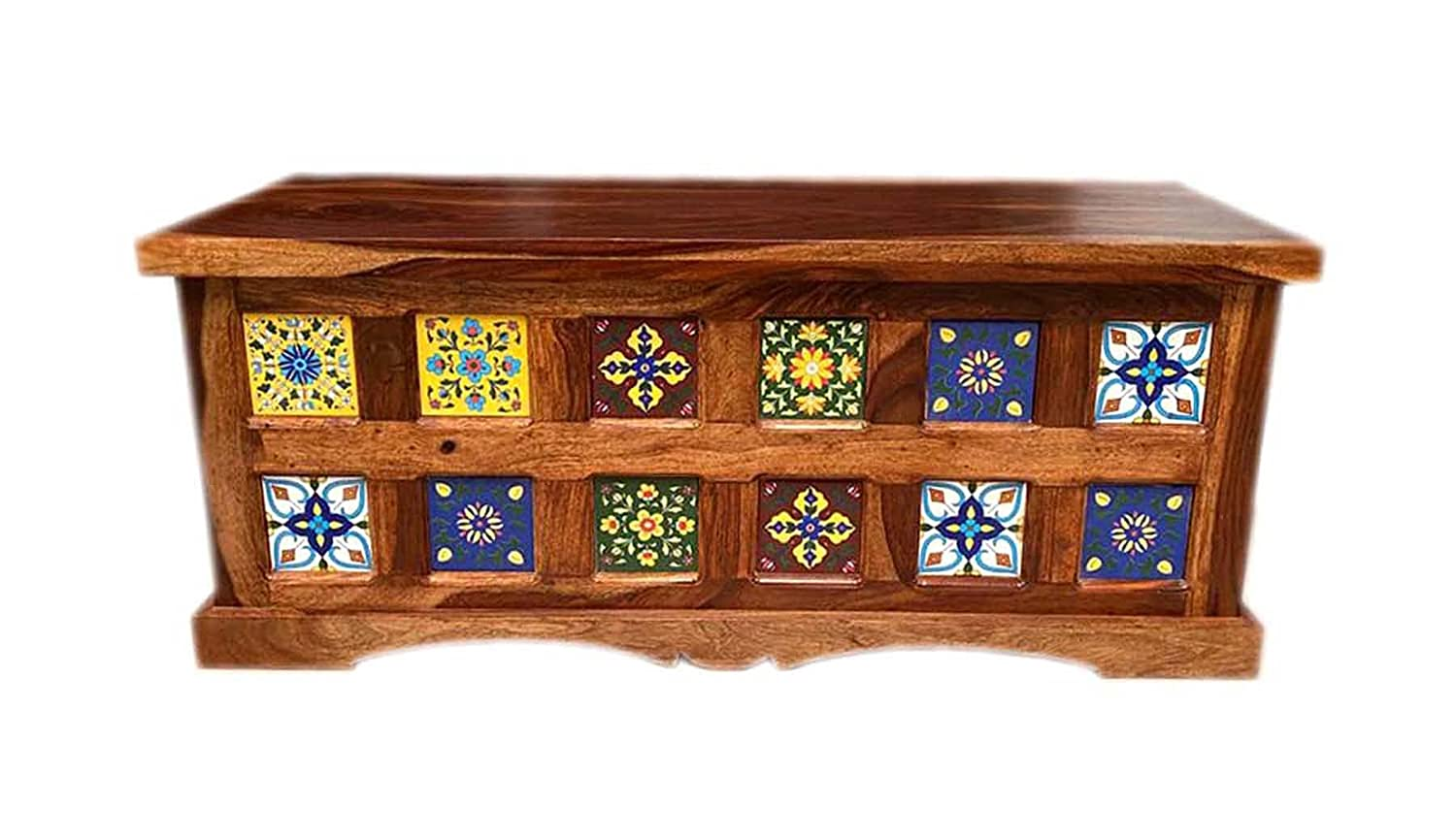 Exclusive Antique Look Coffee Table/Center Table Cum Storage Box/Blanket Storage Box/Trunk, Solid Sheesham Wood Lacquer Finish Honey Brown Size: (42 x18 x18) inch