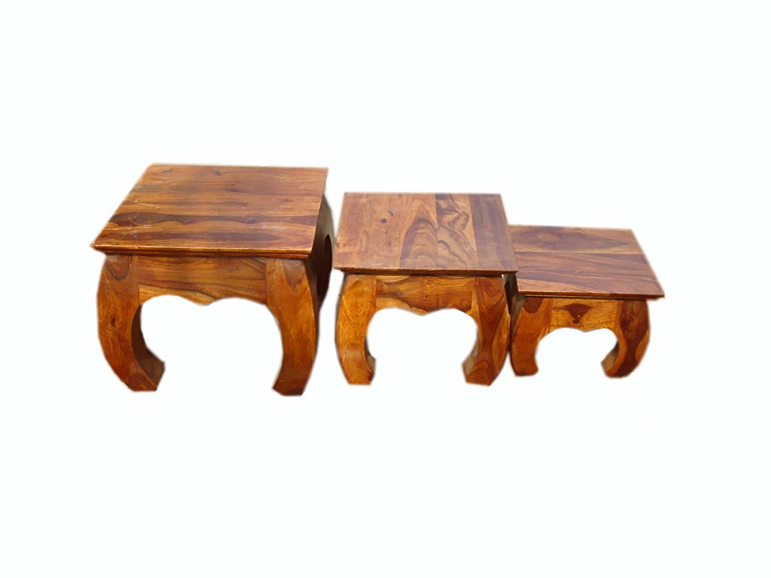 Solid Wood Sheesham Nesting Table/End Table/Bedside Table Set of 3