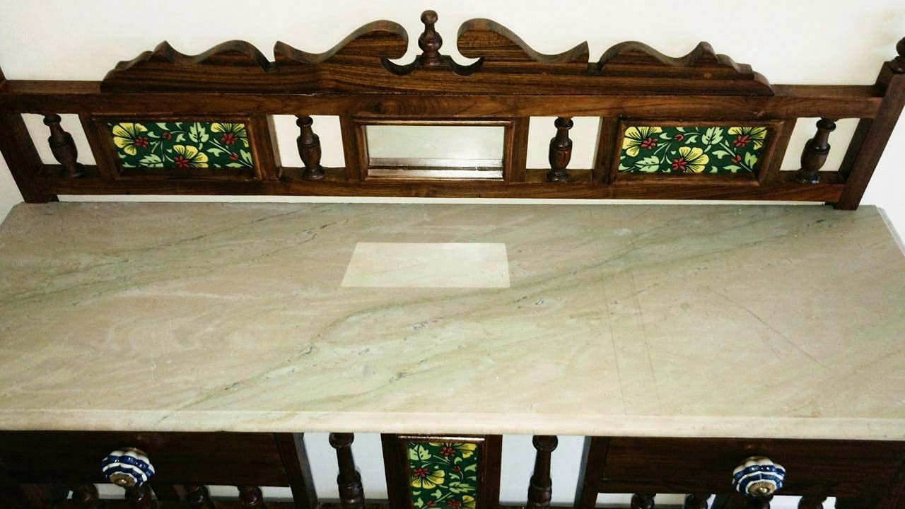 Traditional Rectangle Shape Console Table Solid Teak Wood with Marble Top, Lacquer Finish Honey Brown Size: 30x36x15 Inch