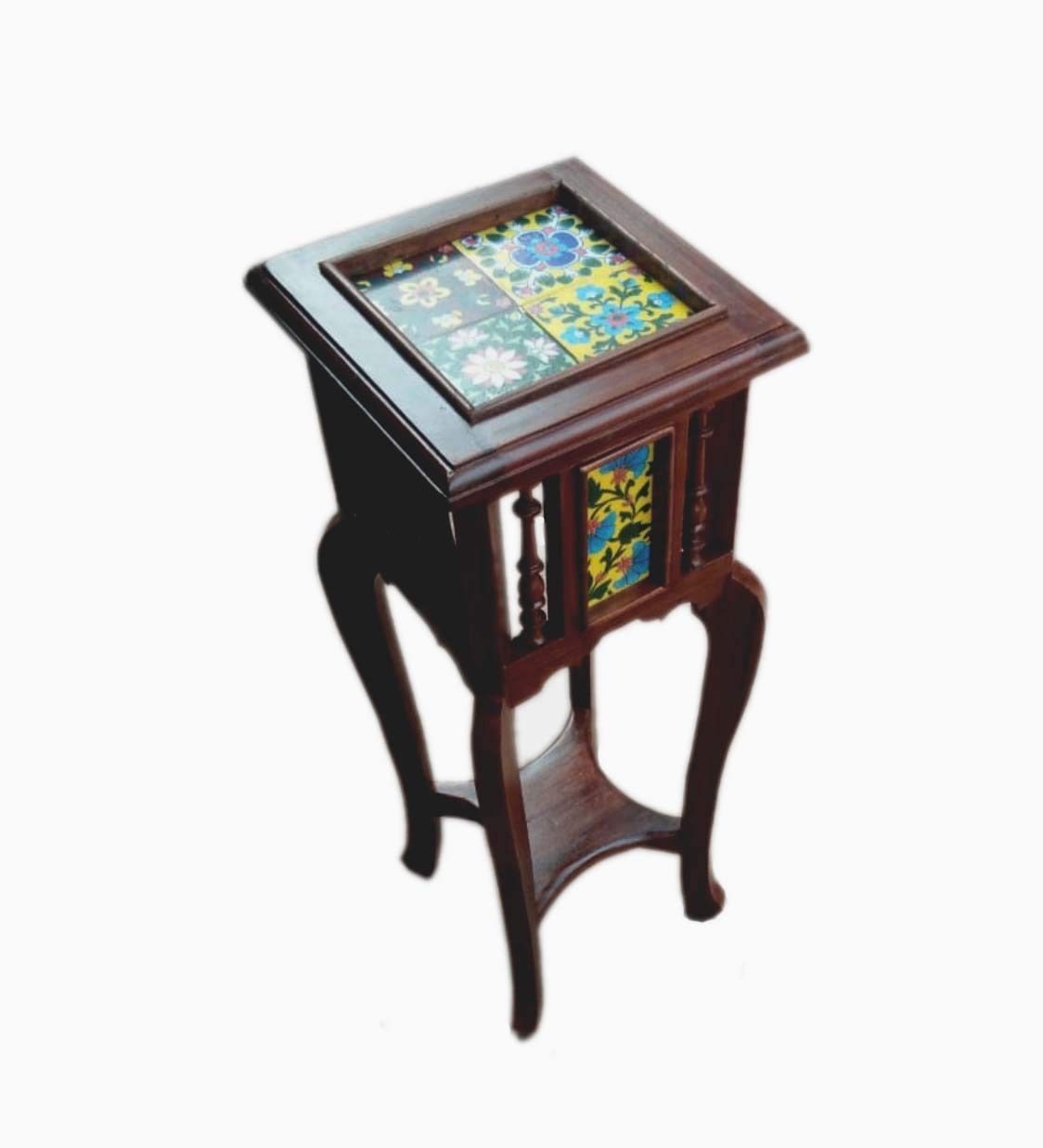 Teak Wood Antique Look Planter Table with Floral Tile Top (30 x 12 x12 inch)