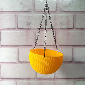 13 cm Hanging Bowl Pot With Hook Yellow