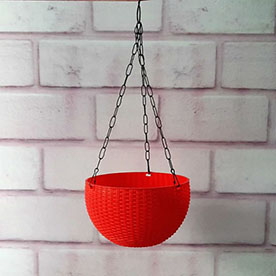 13 cm Hanging Bowl Pot With Hook Red