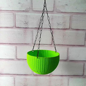13 cm Hanging Bowl Pot With Hook  Green