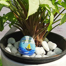Boat, Pebble Art Handcrafted Garden and Room Décor for Home by NationBloom