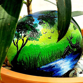 A deer drinking water, Pebble Art Handcrafted Garden and Room Décor for Home by NationBloom