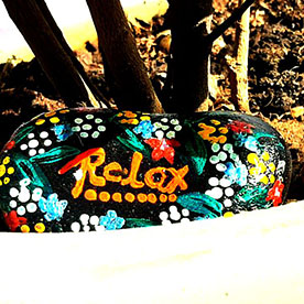 Relax, Pebble Art Handcrafted Garden and Room Décor for Home by NationBloom