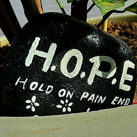 H.O.P.E Black, Pebble Art Handcrafted Garden and Room Décor for Home by NationBloom