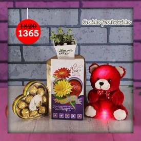 Cutie patootie Set with Musical Teddy- Express Your Love With Amazing Green Gift Set
