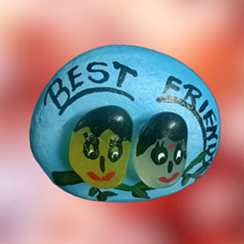 Best Friends, Pebble Art Handcrafted Garden and Room Décor for Home by NationBloom