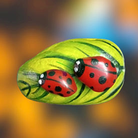 Ladybug, Pebble Art Handcrafted Garden and Room Décor for Home by NationBloom